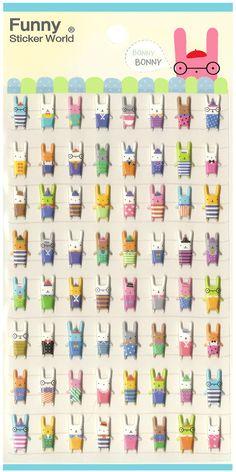 Kawaii Korea Bonny Rabbits Puffy Sticker Sheet ohhh I really want this!!!