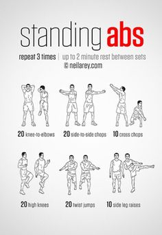 Standing Abs Workout - hmmm definitely worth a go! and it's good to do something… Mo Standing Abs Workout - hmmm definitely worth a go! Fitness Herausforderungen, Sport Fitness, Fitness Motivation, Health Fitness, Workout Fitness, Exercise Motivation, Health Exercise, Fitness Weightloss, Abs Workout Routines
