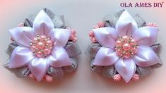 Цветы канзаши из ленты/ Kanzashi Flower tutorial/ Flores de fitas/ Ola a...