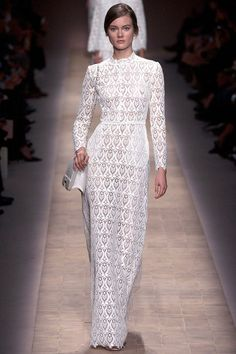 Valentino Spring 2013 RTW Laser Cut White Gown