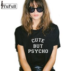 Harajuku 2016 T Shirt Women Tops Punk cute but psycho Letter Print Tee Shirt Femme T shirt Casual tshirt O neck rock Tumblr XL-in T-Shirts from Women's Clothing & Accessories on Aliexpress.com | Alibaba Group