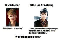 No excuse. Billie Joe vs. Justin bieber