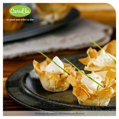Tartaletas de queso, papa y champiñones