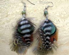 HOLIDAY SALE Long Feather Earrings Black and от peacefrogdesigns