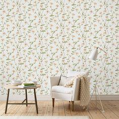 Tapete mit zarten Blütenranken ELIZABETH grün von Sandberg