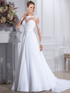 Cheap bridal gown, Buy Quality a line wedding dress directly from China chiffon wedding Suppliers: Cheap Vestido de noiva Illusion Neck A Line Wedding Dresses 2016 Chiffon Wedding Dress Vintage Vestido De Casamento Bridal Gown Scoop Wedding Dress, Wedding Dress Sleeves, Long Wedding Dresses, Long Sleeve Wedding, Elegant Wedding Dress, Cheap Wedding Dress, Elegant Dresses, Bridal Dresses, Wedding Gowns