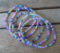 5 Piece Stretchy Bright Colored Bracelets-Handmade One of a Kind