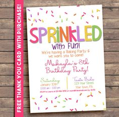 Cupcake Sprinkles Birthday Party Invitation Printable Digital Baking Party Sweets. FREE THANK YOU Card!