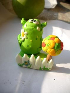 monster with flowers fimo sculpey polymer clay