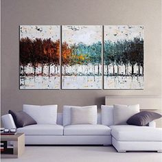 Large Modern Contemporary 3-Piece Set Oil On Canvas Painting Abstract Wall Art #Canvas #Modernism