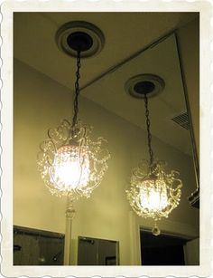 Bathroom-Chandelier Light (From Lowes) Bathroom Chandelier, Mini Chandelier, Chandelier Lighting, Chandeliers, House Beautiful, Beautiful Homes, Guest Bath, Lowes, Bathrooms