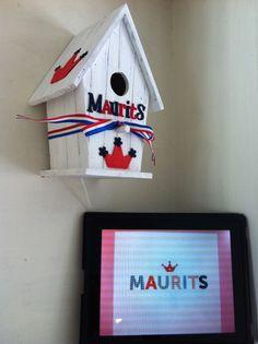 geboortekaartje Maurits- vogelhuisje Maurits  ( vogelhuisjes steigerhout )