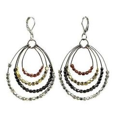 "Shop for Handmade Women's ""Ombre"" Metallic Tiered Loop Earrings (India). Get free delivery On EVERYTHING* Overstock - Your Online Jewelry Destination! Unique Earrings, Earrings Handmade, Dangle Earrings, Handmade Jewelry, Fair Trade Jewelry, Jewelry Collection, Gifts For Her, Artisan, Metallic"