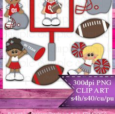 Clipart | Time For Football Red Silver Gray | Kristi W. Designs Reseller |  for Personal & Commercial Use Instant Download