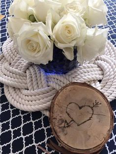 Woven Rope Wreath as a centerpiece for your nautical or rustic weddings.  Made by Mystic Knotwork