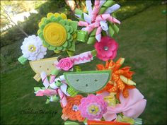Girls Hair Bow and Clip Bouquet Bowquet Gift by LadybugBowtique
