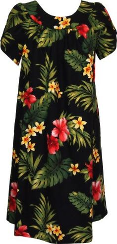 RJC Womens Tropical Summer Hibiscus Tea Length Muumuu Dress Black S ** You can find out more details at the link of the image. (This is an affiliate link) Casual Summer Dresses, Casual Dresses For Women, Clothes For Women, Hawaiian Muumuu, Hawaiian Dresses, House Dress, Kaftan, Dresses Online, Fashion Dresses