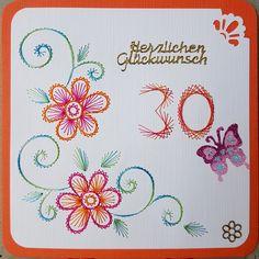 Geburtstag - Individuelle Fadengrafik Jubiläums Grußkarte 2 - ein Designerstück von Bastelfan1809 bei DaWanda