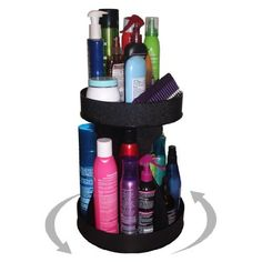 """Cosmetic Organizer for Tall Bottles and Spins for Easy Access. No More Clutter! Saves Space , Only 12"""" of Counter Space Needed. Proudly Made in the USA! by Plastic & Products Marketing PPM. $47.00. Only available right here on Amazon. Shop no further. We are the manufacturer.. 15"""" High x 12"""" diameter base with 9"""" commercail grade turntable.. Designed to hold TALL bottles and spins for easy access.. Topshelf can hold all kinds of beauty essentials.. You'll love how easy life b..."""