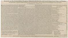 Johannes Tangena   Zeetocht van sijne Konincklijcke Hoogheyt Willem Henrick de III; by de Gratie Gods Prince van Oranjen, Erff-Stadthouder, Capiteyn en Admirael Generael der Vereenigden Staets, voor de Vrijheyt en ware Godsdienst in Groot-Brittangien: Uyt Hellevoetsluys den 11. November 1688, Johannes Tangena, 1688   Tekstblad met een beschrijving van de gebeurtenissen, de legenda van de cijfers 1-12 en een lijst van de schepen die deel uit maken van de vloot, in 4 kolommen in het…
