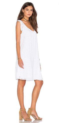 4e09ea58fc344 Shop for Velvet by Graham   Spencer Airlina Rayon Eyelet Shift Dress in  White at REVOLVE.