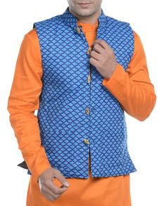 Blue quilted nehru jacket   1. Blue printed quilted nehru jacket2. Chest size: Medium-40 inches, Large-42 inches, XL-44 inches3. Jacket length: 27 inches, Large-27 inches, 28, XL-44 inches