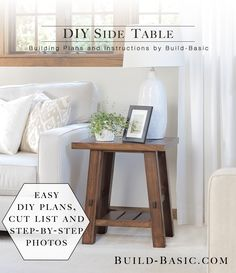 Build a DIY Side Table - Free Building Plans and Tutorial by @BuildBasic #rustic #diy #howto #sidetable #endtable #furniturediy #diyfurniture #woodworking #freeplans #buildingplans