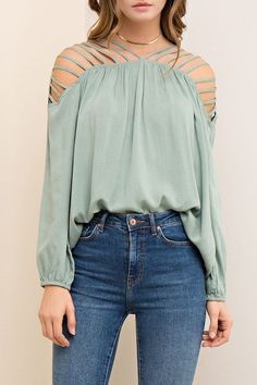 """Details My Darling"" Solid Blouse (Sage) - Happily Ever Aften - 1 Dressy Tops, Casual Tops, Edgy Outfits, Fashion Outfits, Corporate Fashion, Cut Out Top, Nice Tops, Autumn Fashion, Clothes For Women"