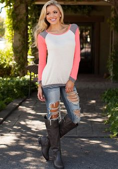 Pink Patchwork Color Block T-Shirt Long Sleeve Round Neck Casual