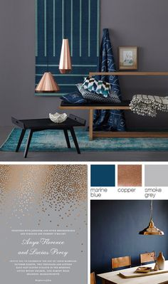 Copper, grey, and blue color palette #copper. Blue And Copper Living  RoomCopper ...