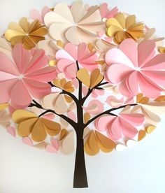Beautiful Pink and Gold Wedding Guest Book Pink and par MioGallery Wedding Tree Guest Book, Tree Wedding, Diy Wedding, Wedding Frames, Flower Crafts, Diy Flowers, Flower Decorations, Paper Flowers, Pink And Gold Wedding