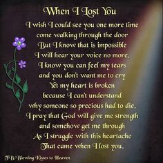 I would give my life to see you for one more day. I would tell you how much I…