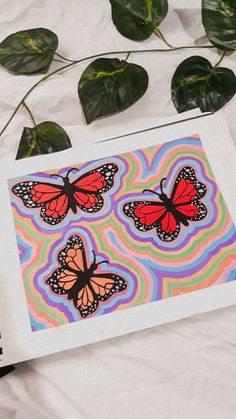 Easy Canvas Art, Simple Canvas Paintings, Small Canvas Art, Mini Canvas Art, Cool Paintings, Trippy Painting, Hippie Painting, Butterfly Art, Butterfly Painting Easy