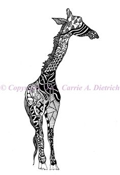 Black and White Art Pen and Ink Animals Giraffe Illustration Signed 5 x 7 Print Home Decor Design Drawing. $18.00, via Etsy.