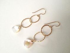 Mother Pearl Hammered Gold Oval Drop Gold Earrings