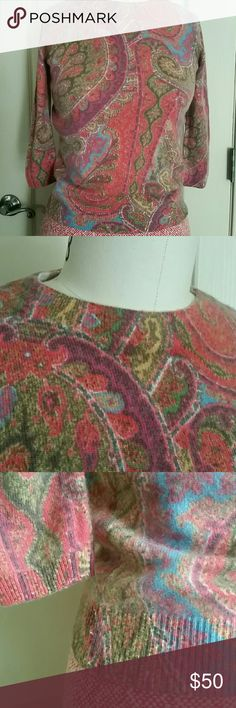 Talbots paisley cashmere 3/4 sleeve sweater P Love this paisley print multi color 100% cashmere Talbots small sweater with 3/4 sleeve. Too small for me. Ripped underarm but repaired like new. EUC, no pilling or if so, very minor. No issues. This is a fun and great quality.  16 p2p 16 sleeve  21.5 long Talbots Sweaters Crew & Scoop Necks