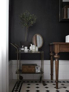black bathroom and trolley for nice things...