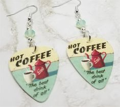Hot Coffee The Best Drink of All Guitar Pick Earrings with Chrysolite Opal Swarovski Crystals Guitar Pick Jewelry, Recycled Jewelry, Guitar Picks, 18 Inch Doll, Hot Coffee, Ball Chain, Fun Drinks, Clip On Earrings, Custom Jewelry