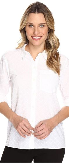 MICHAEL Michael Kors High-Low Button Down Top (White) Women's Clothing - MICHAEL Michael Kors, High-Low Button Down Top, MH64A195ZT-100, Apparel Top General, Top, Top, Apparel, Clothes Clothing, Gift - Outfit Ideas And Street Style 2017