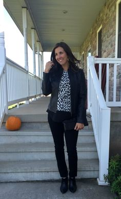 faux layered top outfit, leopard print top outfit idea, leather jack outfit ideas, black jeans outfit idea,