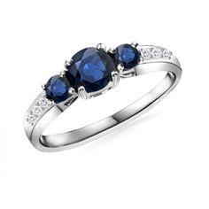 Angara.com - Round Sapphire And Diamond Three Stone Ring...