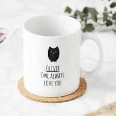 Sophia Victoria Joy Personalised Owl Mug ($16) ❤ liked on Polyvore featuring home, kitchen & dining, drinkware and owl mug