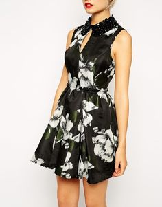 Image 3 of ASOS TALL Rose Print Skater Dress With $46.58 Embellished Collar