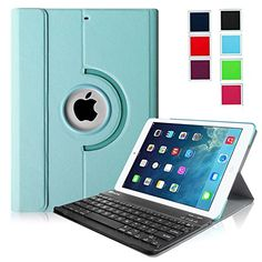 Fintie iPad Air Keyboard Case - Ultra Slim 360 Degree Rotating Stand Cover with Magnetically Detachable Wireless Bluetooth Keyboard for Apple iPad Air (iPad 5) - Blue Fintie http://www.amazon.com/dp/B00LHT6OBC/ref=cm_sw_r_pi_dp_Gms3tb1W6BNHHAK8