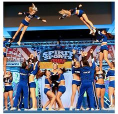 Cali *SMOED* My inspiration. The cheerleading squad that has turned me into the cheerleader I am today Cheerleading Flexibility, Cheerleading Photos, Cheerleading Outfits, Cool Cheer Stunts, Cheer Poses, All Star Cheer, Cheer Dance, My Dream Team, Cheer Pictures