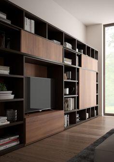 New Living Collection 2018 Living Room Wall Units, Home Living Room, Living Room Designs, Built In Furniture, Home Decor Furniture, Office Interior Design, Room Interior, Muebles Living, Tv Wall Decor