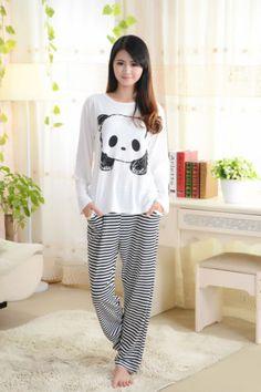 Cute-Ladies-Women-Panda-Mouse-Bunny-Long-Top-Trousers-Set-Pyjamas-Pajamas