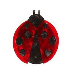 "Erstwilder Limited Edition Lou-Lou Ladybug Brooch. ""I'm not a true bug and not necessarily a lady. But I am quite a useful garden companion and a striking gone at that."""