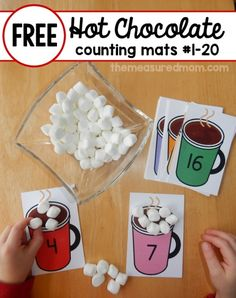Chocolate Math - free printable counting mats - The Measured Mom Print these fun hot chocolate counting mats for a winter themed math activity!Print these fun hot chocolate counting mats for a winter themed math activity! Preschool Christmas, Preschool Winter, Christmas Math, Preschool Lessons, Math Lessons, In Kindergarten, Hot Chocolate, Chocolate Color, Numeracy
