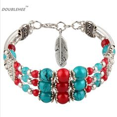 India National Style Restoring Ancient 3Line Beads Jewelry Charm Bohemia Bracelet Red Black Color Leaves Bracelets Lobster